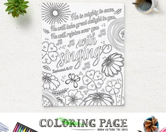 coloring page printable bible verse he is mighty zephaniah 317 instant download coloring pages
