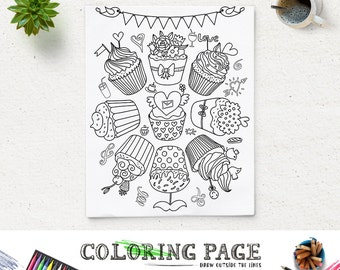 Coloring Page Printable Party Kids Activity Pages Instant Download Digital Art Book