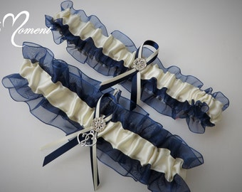 Navy Blue and Ivory Garter Set, Something Blue Garter, Keepsake Garter, Bridal Garter, Prom Garter, Lingerie Garter
