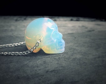 Crystal Skull Necklace // Holographic Opalite Skull // Opal Quartz Necklace // Realistic Human Skull // 90s Pastel Grunge Goth Boho Punk