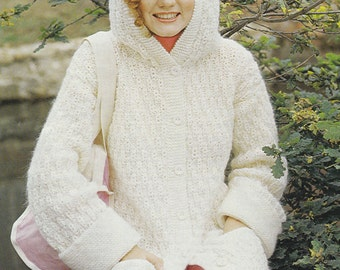 PDF hooded jacket cardigan vintage knitting pattern INSTANT download pattern only