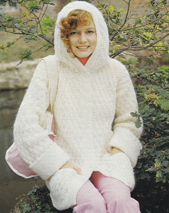 Knitting Pattern Hooded Cardigan : PDF hooded jacket cardigan vintage knitting pattern INSTANT