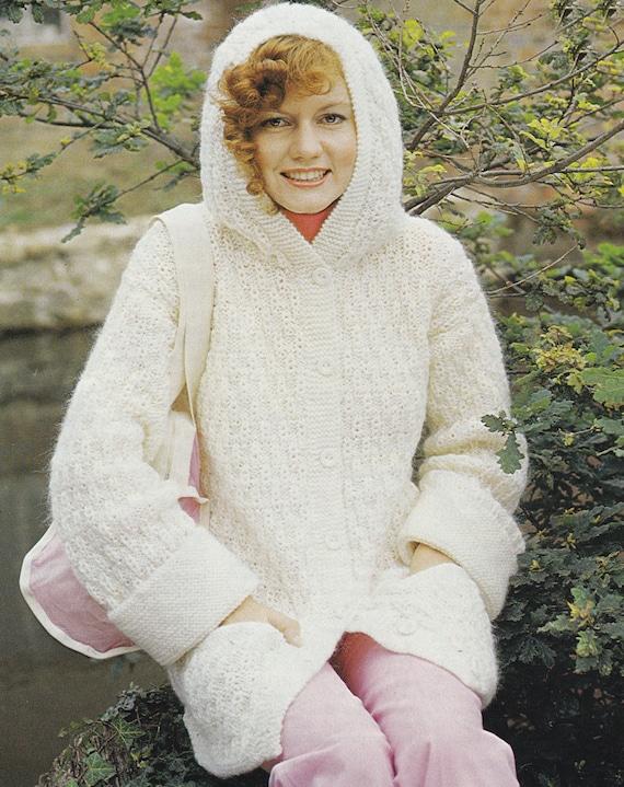 PDF hooded jacket cardigan vintage knitting pattern INSTANT
