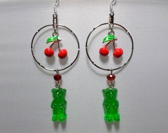 Adorable Cherry Limeade Gummi Bear Earrings
