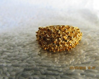Vintage Gold Toned Adjustable Statement Ring with FREE SHIPPING To The U.S.A.