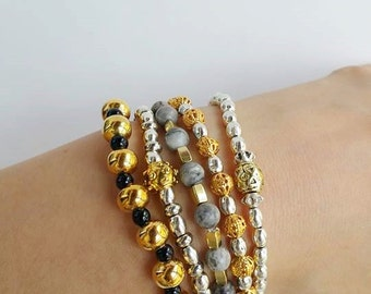 Bracelet sets - multiple bracelets - Bracelet Combination - Combined Bracelet - stackable jewelry - stacking bracelets - boho chic stretch