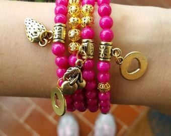 Beadwork Beaded bracelets - stone beads - pink bracelet - magenta jewelry - stretch bracelet - layering bracelets - boho chic filigree beads