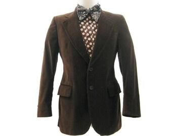 Vintage 1970s Jacket Men's Brown Velvet Fitted Disco Blazer