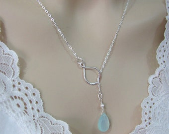 Aqua Chalcedony Infinity Lariat, Chalcedony Necklace in Sterling Silver,  Peruvian Chalcedony, Bride or Bridesmaid Necklace, Wedding Jewelry
