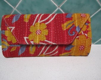 Gorgeous Red Floral Clutch Purse/Bag - Made From Vintage Indian Kantha Fabric