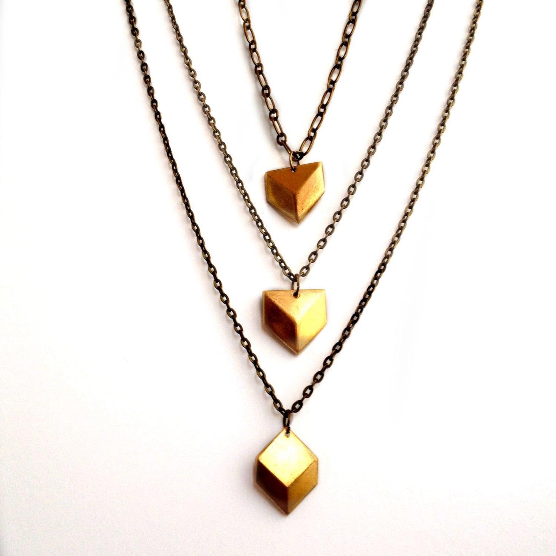 chevron charm necklace geometric necklace charm