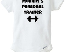 Mommy's Personal Trainer   Black Or Pink Available   Dumbbell Onesies   Workout Onesies   Funny Baby Onesies   Baby Shower Gifts