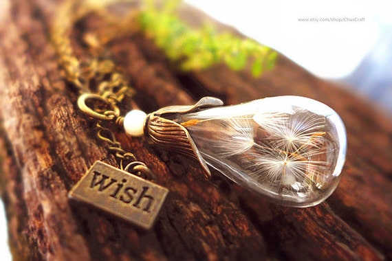 dandelion wish necklace, glass bottle necklace, glass terrarium necklace tear drop necklace teardrop necklace fashion jewelry light bulb art