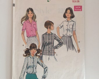 Style 2359 1960s Collared Blouse Sewing Pattern Size 16 Bust 38""