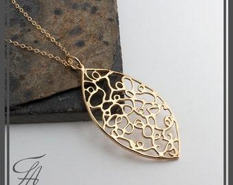 Minimalist Necklace, Azure Gold Necklace, Filigree Gold Charm, Lariat Necklace, Handmade Necklace, Minimalist Necklace, Gold Jewelry, Gift