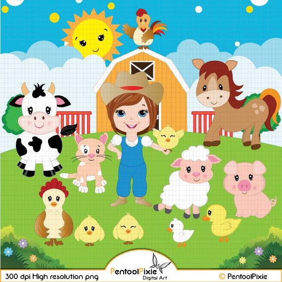 Farm Animals Clipart Farmyard Barn Sheep Cow Horse Pig Rooster Duck Farmer Girl Cute