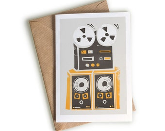 Reel to Reel Player Card, Illustrated Card, Music Lovers, Musicians, Old School Music Equipment, Music History, Analogue, Mid Century Modern
