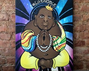 Notorious Big Biggie Smalls Buddha 12x18 mounted canvas
