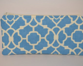 Blue and Cream Pencil Pouch