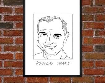 Badly Drawn Douglas Adams - Literary Poster - *** BUY 4, GET A 5th FREE***