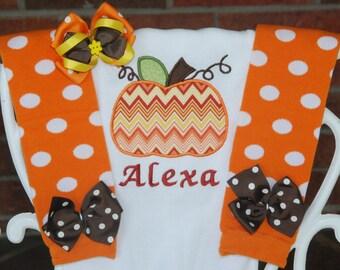 Baby Girl Pumpkin Outfit! Baby Girl Pumpkin Patch Outfit/Thanksgiving Outfit/Pumpkin leg warmer outfit/Baby girl custom pumpkin outfit