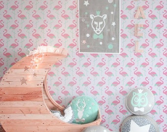 Flamingos Self adhesive kids room wallpaper - PINK PEEL and STICK vinyl Nursery wallpaper - Olb_032