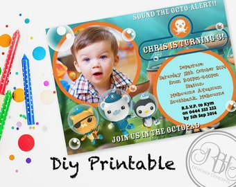 "Octonauts Birthday Invitation - Digital DIY Invitation-Printable- Underwater Octopod, Kwazi, Paso, Captain Barnacles Child Invite - ""Chris"""