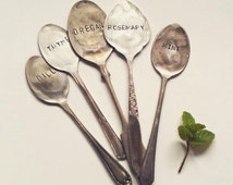 Herb Garden Markers - garden planter, plant marker, vintage teaspoon, hand stamped spoon, basil, mint, parsely, eco gift, sustainable