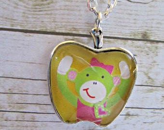Green Sock Monkey Pendant Necklace, Glass Pendant, Sock Monkey Pendant, Girls Accessory, Sock Monkey Jewelry, Apple Pendant Necklace, Gifts