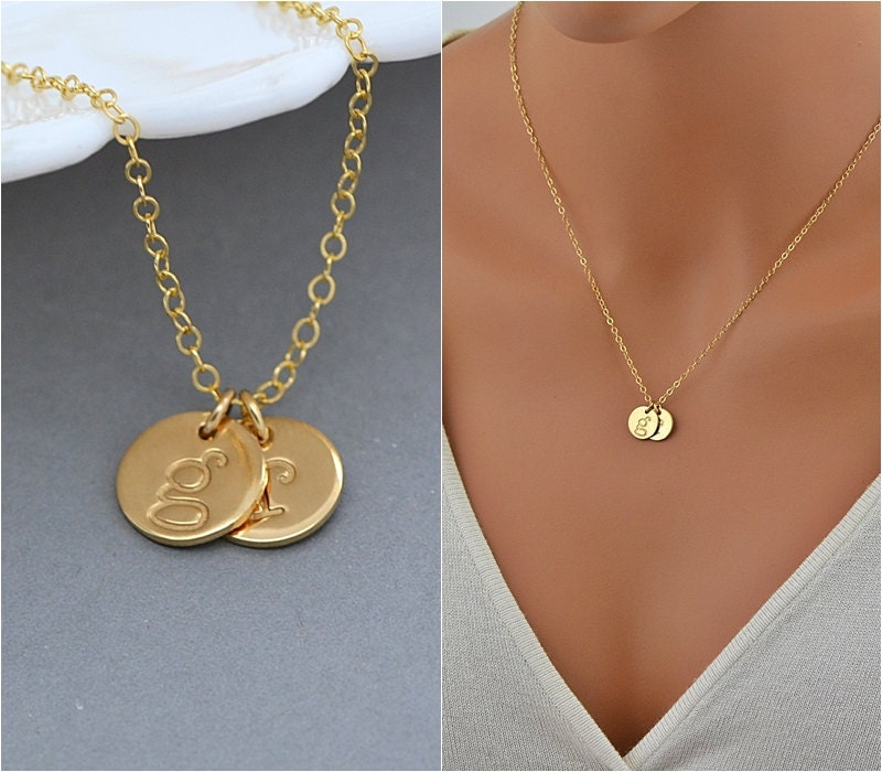 personalized disc necklace two initial necklace gold or. Black Bedroom Furniture Sets. Home Design Ideas