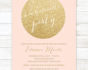gold glitter pink bachelorette party invitation, pink gold glitter printable modern stagette party digital invite customizable
