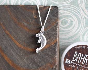 Manatee Sterling Silver Necklace; marine, 3D, sea cow, beach, surf, jewellery, gifts for her, sea, ocean, dolphin, dugong, summer, wildlife
