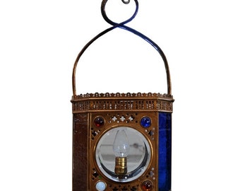 4467 Antique J.S. Hanging Light with Chunk Jewels