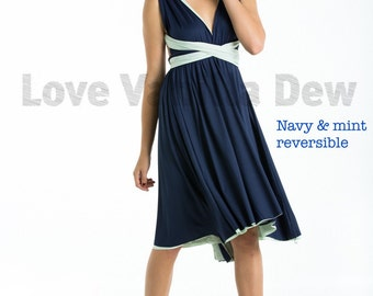 Bridesmaid Dress Infinity Dress Navy Blue with Mint Reversible Wrap Convertible Dress Wedding Dress