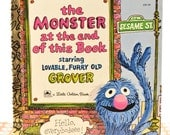SALE Retro/vintage 1970s - 70s - 1971 - Sesame Street Grover - The Monster At the End of this Book... Little Golden Books