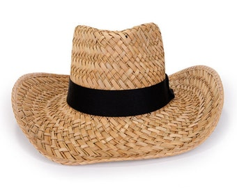 Cowboy hat , decorated with with a black ribbon & a gold plated anchor rivet stud. , Men's sun hats.