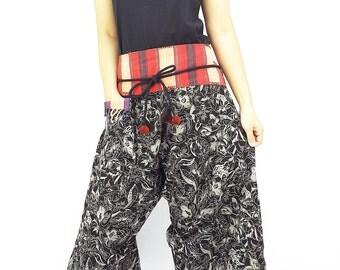 PCTW1 Woven Cotton Pants Women Pants Maxi Pants Gypsy Pants Wide Leg Trouser Convertible Pants Pom Pom Black