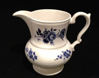 Lord Nelson Pottery Pitcher, White with Blue Flowers, Made in England