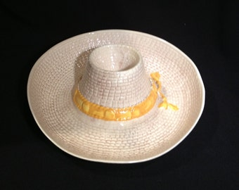 Ceramic Straw Hat Chip and Dip Made in USA