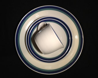 Pfaltzgraff Northwinds Stoneware Salad Plate with Blue and Green Bands
