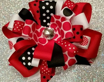 Red, White & Black - Over the Top Bow
