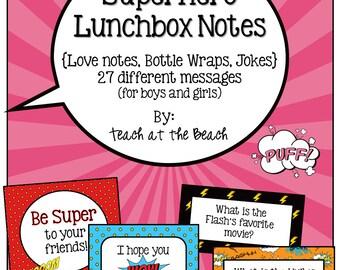Superhero Lunchbox Notes, Jokes, and Bottle Wraps