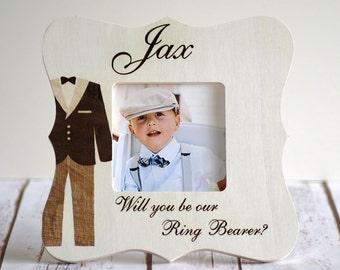 Ring bearer picture frame- Wood Engraved- Custom Gift, Gift for Ring bearer- Wedding Gift- Ring bearer gift- Will you be my Ring Bearer