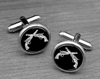 Gun  Cufflinks,Pistol Tie Pin,Mens Hand Gun Cuff links, Shooter, Handmade Round Glass Father's Cufflinks, Best Gifts for Him,Black /White