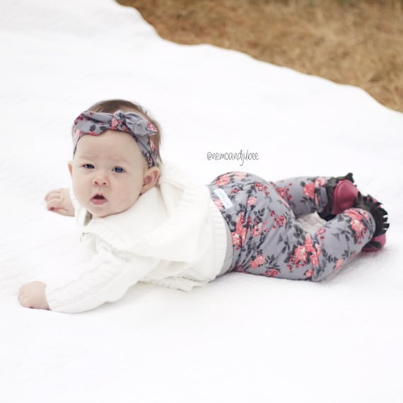 Gray and Coral Floral Baby Leggings Toddler Leggings Girl Leggings Grey and Coral Leggings Girl Baby Pants Leggings CHOOSE SIZE