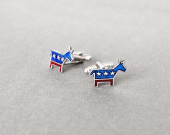 Donkey Cufflinks Republican Cufflinks Men's Cufflinks Republican Donkey Debates GOP Cufflinks Steampunk Style Antique Silver Men's Gifts