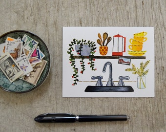 Kitchen Sink Greeting Card, Watercolor Note Card, Blank Card, by Little Truths Studio