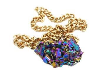 Flame Aura Quartz Necklace, Aura Crystal Cluster Necklace, Rainbow Aura Quartz, Statement Necklace