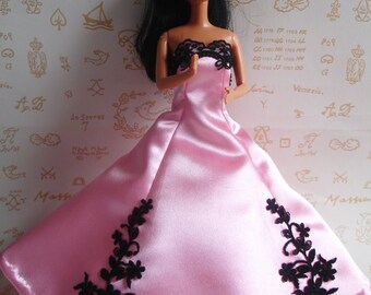 Pink satin and black lace prom dress for Barbie doll