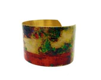 50% OFF SALE JEWELRY - Brass Cuff Bracelet - Wearable Art Jewelry - Brass Statement Bracelet - Elegant Bracelet - Sku R8-016